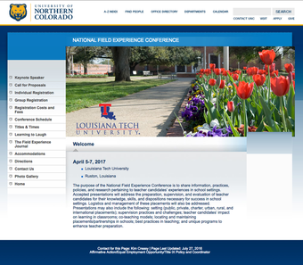 Screenshot of National Field Experience Conference website with Louisiana Tech University logo on front screen.